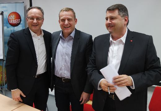 Andreas Stoch, IG-Metall Bezirksleiter Roland Zitzelsberger, Reiner Willeck, IG-Metall Heidenheim